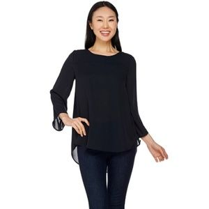 Lisa Rinna 3/4 Sleeve Top With Back Pleat Detail